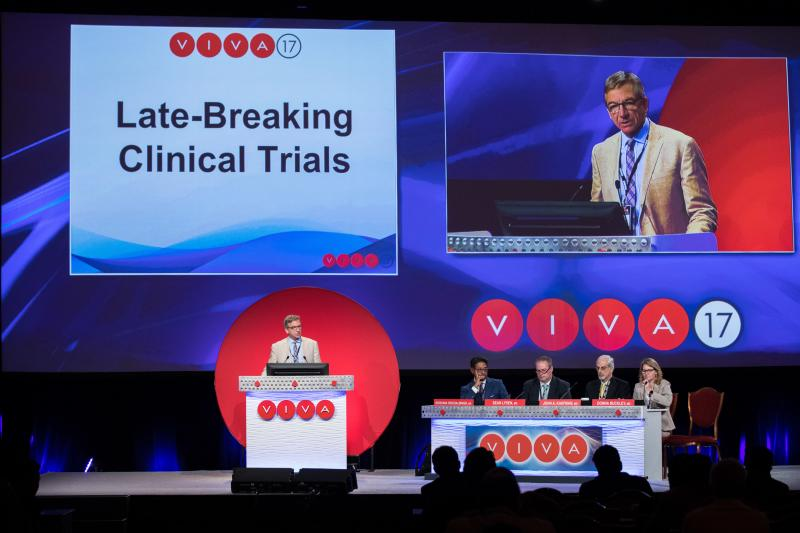 Peter Schneider, M.D. presents late breaking clinical trial results at VIVA 17 in Las Vegas. Panelists (l to r) Krishna Rocha-Singh, M.D., Sean Lyden, M.D., John Kaufman, M.D., Donna Buckley, M.D.
