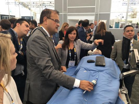 A hands-on-training session at TCT 2018 that instructed interventional cardiologists how to use an intra-cardiac echo (ICE) catheter to image the chambers inside the heart with a catheter based ultrasound imaging system.  The training area was sponsored by Siemens Healthineers