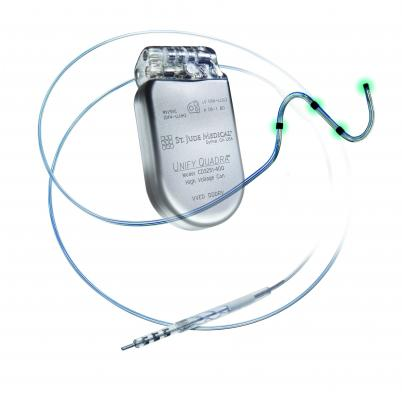 ICD, implantable cardioverter defibrillator, quadripolar leads