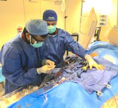 A complex PCI case to revascularize a chronic total occlusion (CTO) at Henry Ford Hospital in Detroit. Complex PCI and CHIP cases are increasing patient volumes in the cath lab and using a minimally invasive approach in patients who otherwise would have been sent for CABG. Pictured is Khaldoon Alaswad, M.D. DAIC staff photo by Dave Fornell
