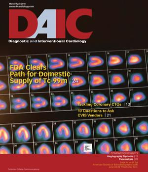 Diagnostic and Interventional Cardiology, DAIC, magazine March-April 2018 cover. The editor of DAIC is Dave Fornell.